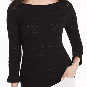WHBM M Mix Stitch Peplum Sleeve Pullover Sweater
